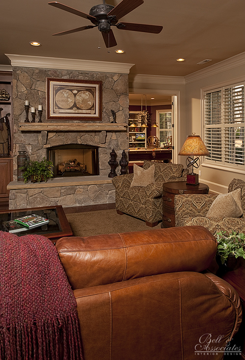 Stone fireplace gathering room interior design raleigh for The family room psychotherapy associates